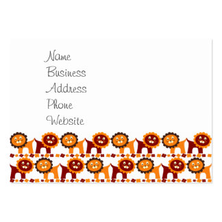 Cute Red and Orange Lions Jungle Pattern White Pack Of Chubby Business Cards