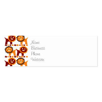 Cute Red and Orange Lions Jungle Pattern White Pack Of Skinny Business Cards