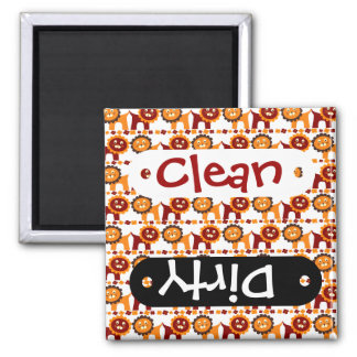 Cute Red and Orange Lions Jungle Pattern White Square Magnet