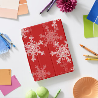 Cute red and white Christmas snowflakes iPad Cover