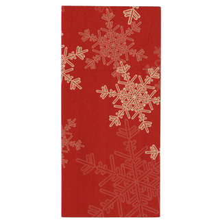 Cute red and white Christmas snowflakes Wood USB Flash Drive