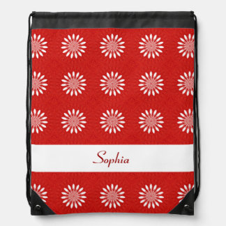 Cute Red and White Daisy Floral Pattern With Name Drawstring Bag