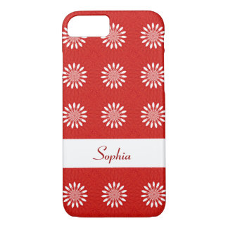 Cute Red and White Daisy Floral Pattern With Name iPhone 7 Case
