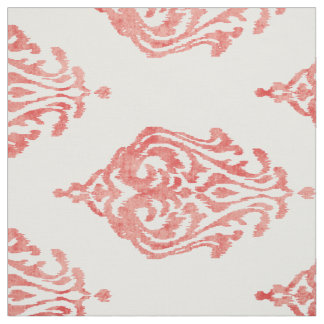 Cute red and white damask ikat tribal patterns fabric