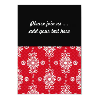 Cute Red and White Floral Pattern 13 Cm X 18 Cm Invitation Card