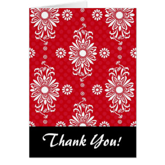 Cute Red and White Floral Pattern Note Card