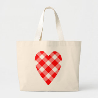 Cute red and white gingham heart large tote bag