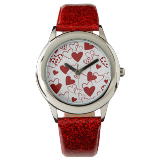 Cute Red and White Heart Pattern Wrist Watch
