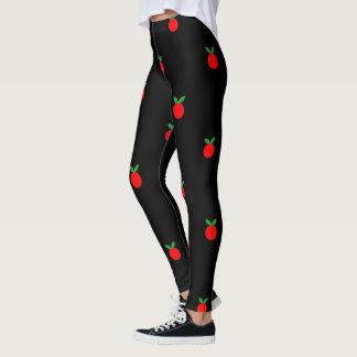 Cute red apple fruit print on black leggings