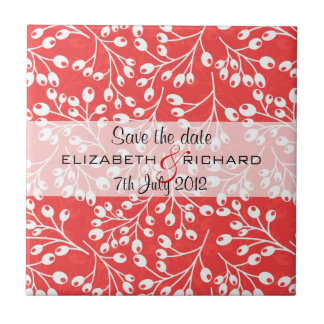 Cute red autumn fruits Save the date Tile