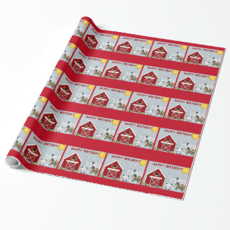 Cute Red Barn Farm Animals Birthday Wrapping Paper