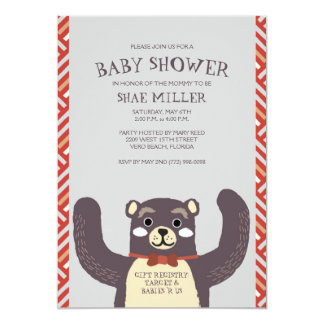 Cute Red Bear Hug Baby Shower Invitation