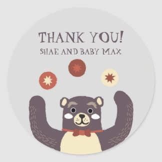 Cute Red Bear Hug Baby Shower Thank You Classic Round Sticker