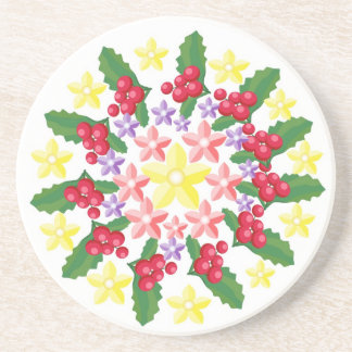 Cute Red Berry Garland Pattern Coasters