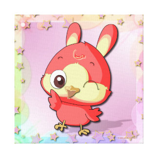 Cute Red Bird Funny Cartoon Character Canvas Gallery Wrap Canvas