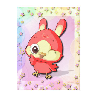 Cute Red Bird Funny Cartoon Character Canvas Canvas Print