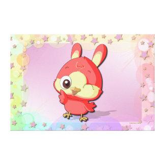 Cute Red Bird Funny Cartoon Character Canvas Canvas Print