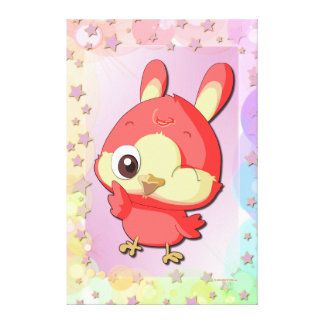 Cute Red Bird Funny Cartoon Character Canvas Canvas Prints