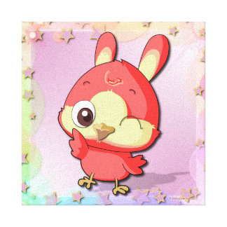 Cute Red Bird Funny Cartoon Character Canvas Gallery Wrapped Canvas