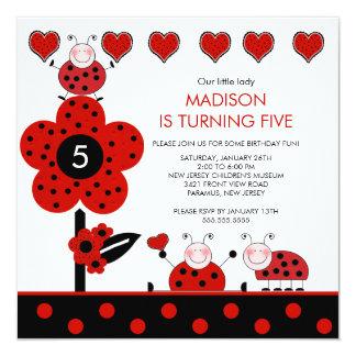Cute Red & Black Ladybug Birthday Invitation