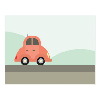 Cute Red Cartoon Car Driving Postcard