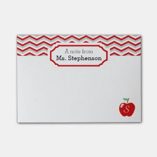 Cute Red Chevron Apple Monogrammed Teacher Note