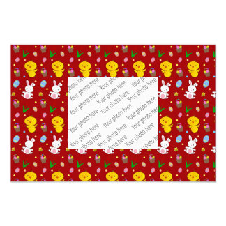 Cute red chick bunny egg basket easter pattern photo art