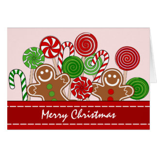Cute red Christmas gingerbreads Card