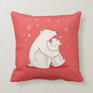 Cute Red Christmas Polar Bears Throw Pillow