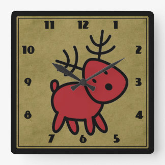 Cute Red Christmas Reindeer Illustration Square Wall Clock