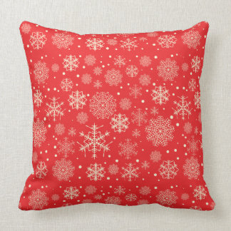 Cute red Christmas snowflakes - Xmas gifts Throw Pillow