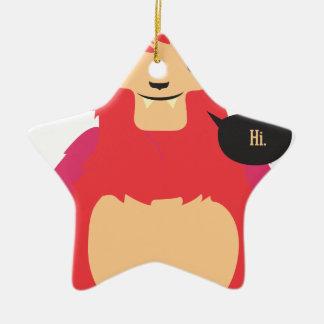 cute red cow design ceramic star decoration