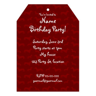 Cute red dachshund pattern invitations