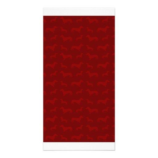 Cute red dachshund pattern photo card template