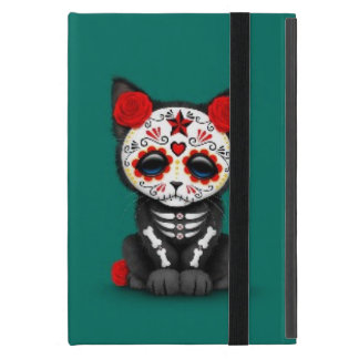 Cute Red Day of the Dead Kitten Cat, teal blue iPad Mini Case