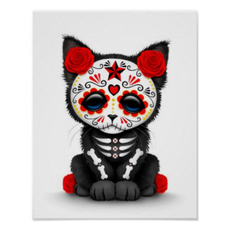 Cute Red Day of the Dead Kitten Cat, white Poster
