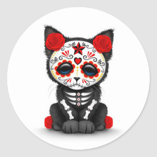 Cute Red Day of the Dead Kitten Cat, white Round Sticker