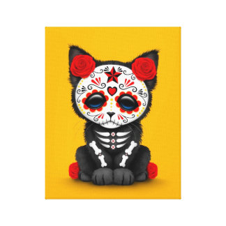 Cute Red Day of the Dead Kitten Cat, yellow Canvas Print