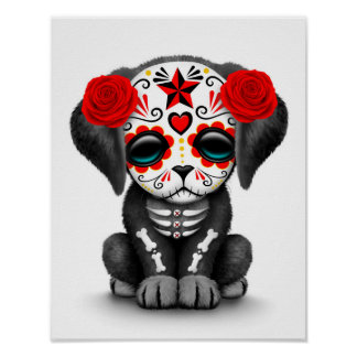 Cute Red Day of the Dead Puppy Dog White Poster