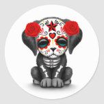 Cute Red Day of the Dead Puppy Dog White Round Sticker