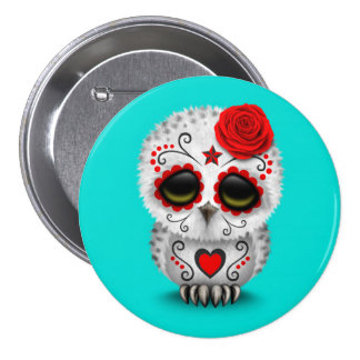 Cute Red Day of the Dead Sugar Skull Owl Blue Pins