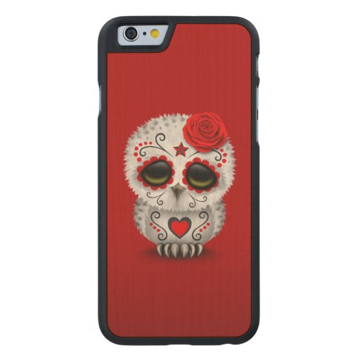 Cute Red Day of the Dead Sugar Skull Owl Carved® Maple iPhone 6 Case
