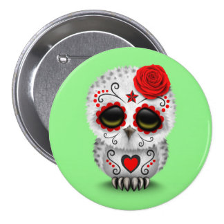 Cute Red Day of the Dead Sugar Skull Owl Green Pins