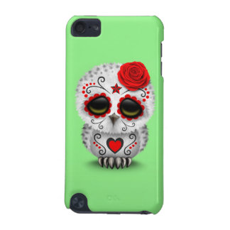 Cute Red Day of the Dead Sugar Skull Owl Green iPod Touch 5G Cover