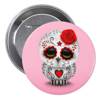 Cute Red Day of the Dead Sugar Skull Owl Pink Button
