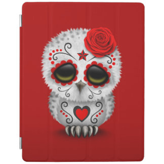 Cute Red Day of the Dead Sugar Skull Owl Red iPad Cover