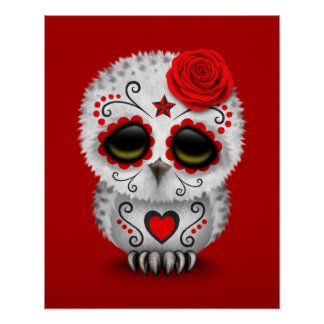 Cute Red Day of the Dead Sugar Skull Owl Red Poster