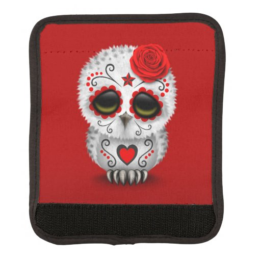 Cute Red Day of the Dead Sugar Skull Owl Red Luggage Handle Wrap