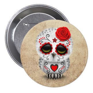 Cute Red Day of the Dead Sugar Skull Owl Rough Pinback Buttons