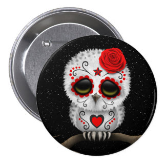 Cute Red Day of the Dead Sugar Skull Owl Stars Pins